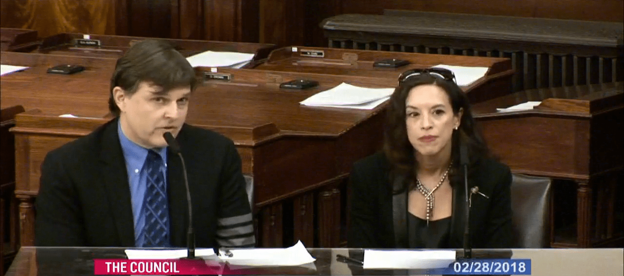Jeff Trexler and Professor Scafidi testifying before the New York City Council
