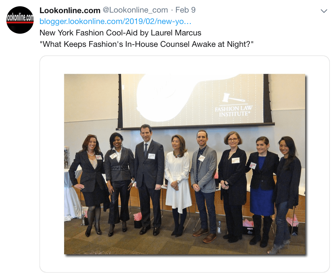 Lookonline.com tweet with a photo of the panelists at Inside-Out 4: Fashion's In-House Counsel on What Keeps Them Awake at Night