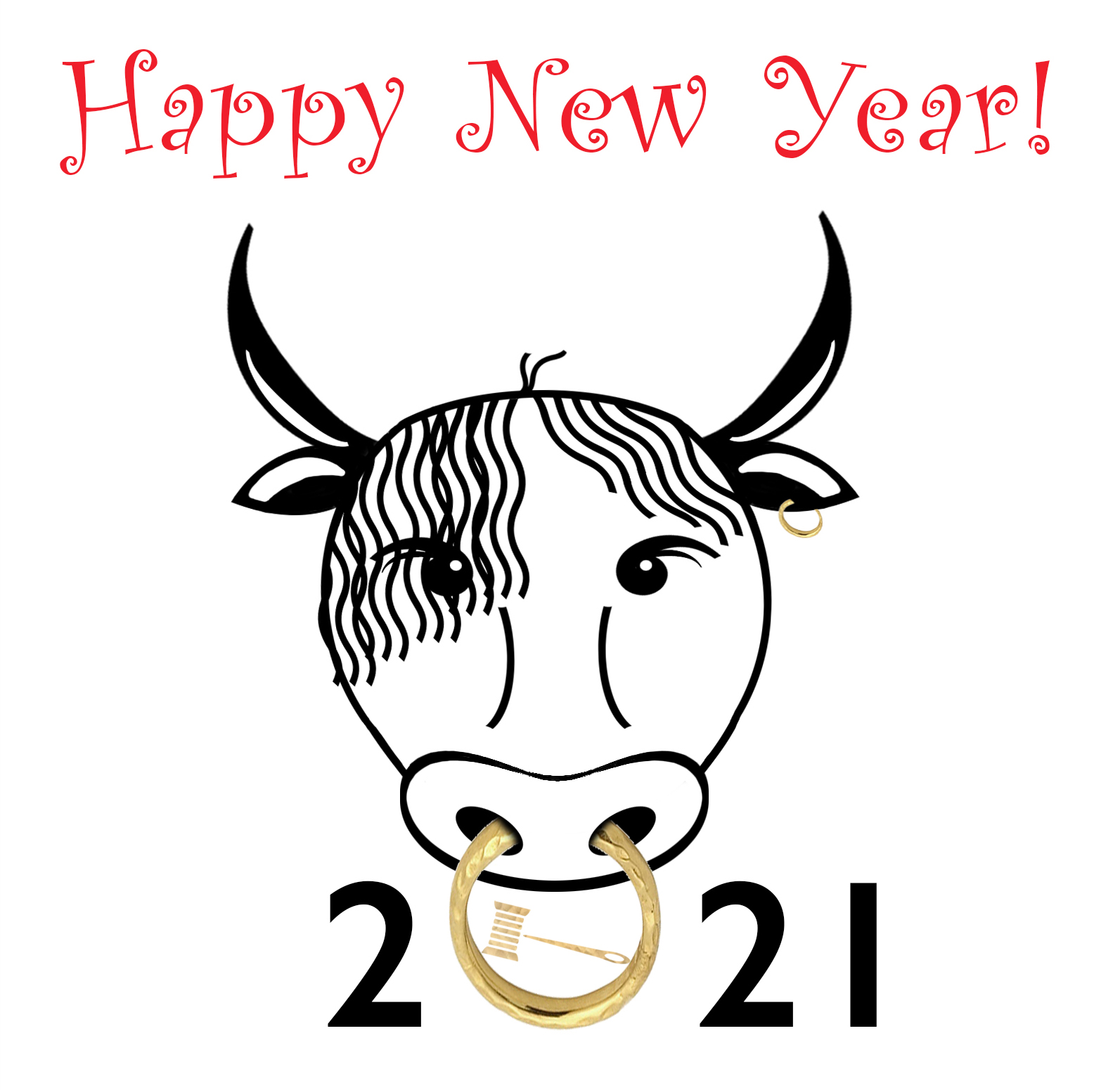 Happy New Year! with line drawing of ox wearing a gold nose ring as the 0 of 2021 with the Fashion Law Institute gavel and spool of thread logo in the center
