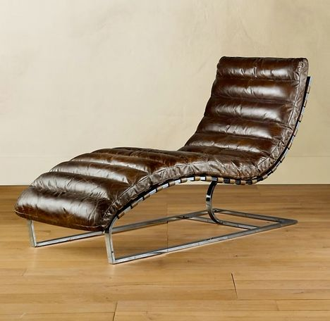 Oviedo chaise vintage cigar leather for Antique leather chaise