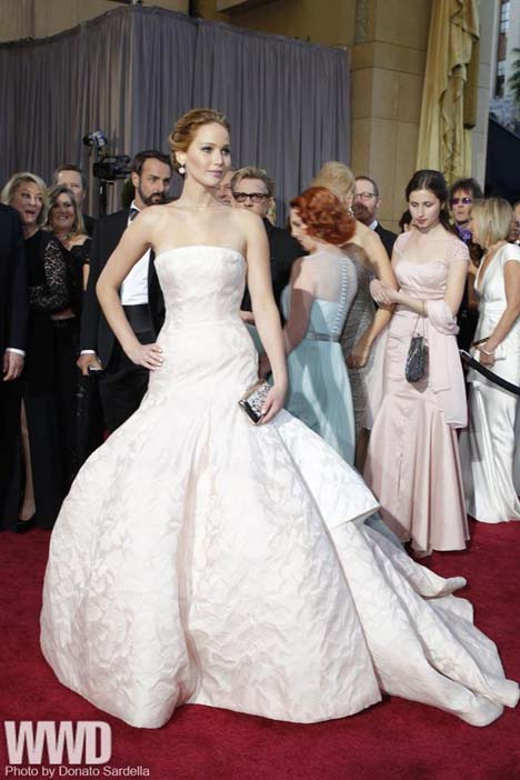 Jennifer Lawrence in Christian Dior Haute Couture and Chopard.