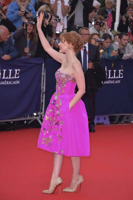 Jessica Chastain in Oscar de la Renta to the Opening Ceremony of the 40th Deauville American Film Festival