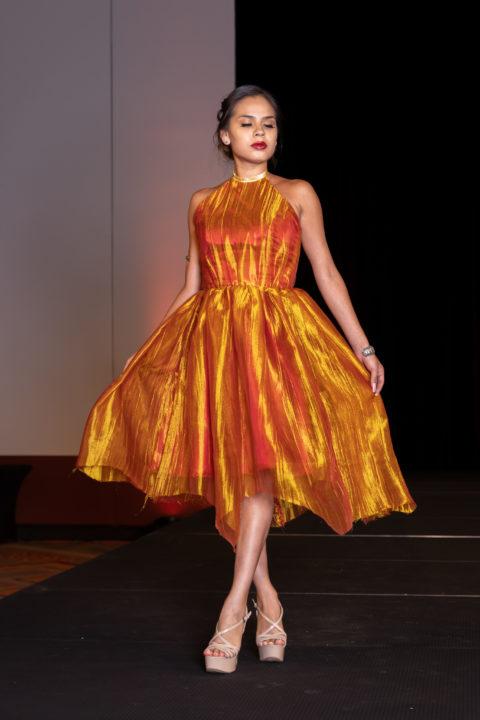 Loren Aragon orange dress