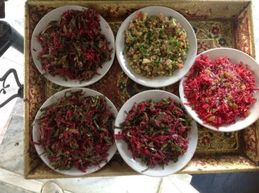 Spinach-Beetroot & cashew paste salad, Sprouted Beans & Tamarind salad, and Carrot-Beetroot & Resins salad