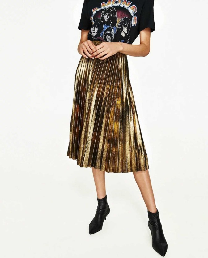 Burnt Gold Pleated Skirt Apparel