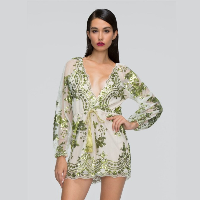 Green Filly Sequin Playsuit