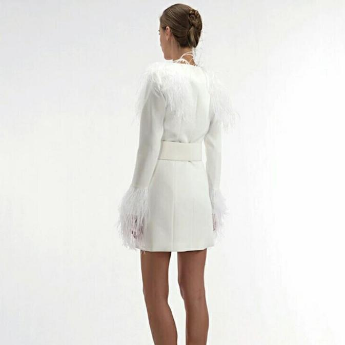 Swan Lake Feathered Blazer Dress Apparel