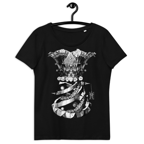 100% organic cotton T-shirt in black with Corset print