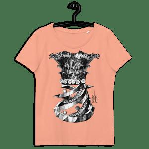 """100% organiskās kokvilnas T krekls persiku krāsā ar apdruku """"Korsete"""""""