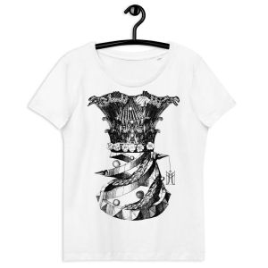 """100% organiskās kokvilnas T krekls sniegbaltā krāsā ar apdruku """"Korsete"""""""