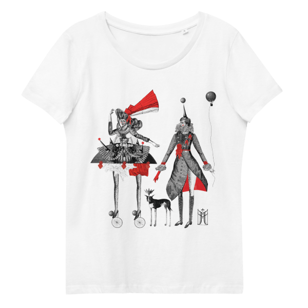 100% organic cotton T-shirt in white with Carnival print