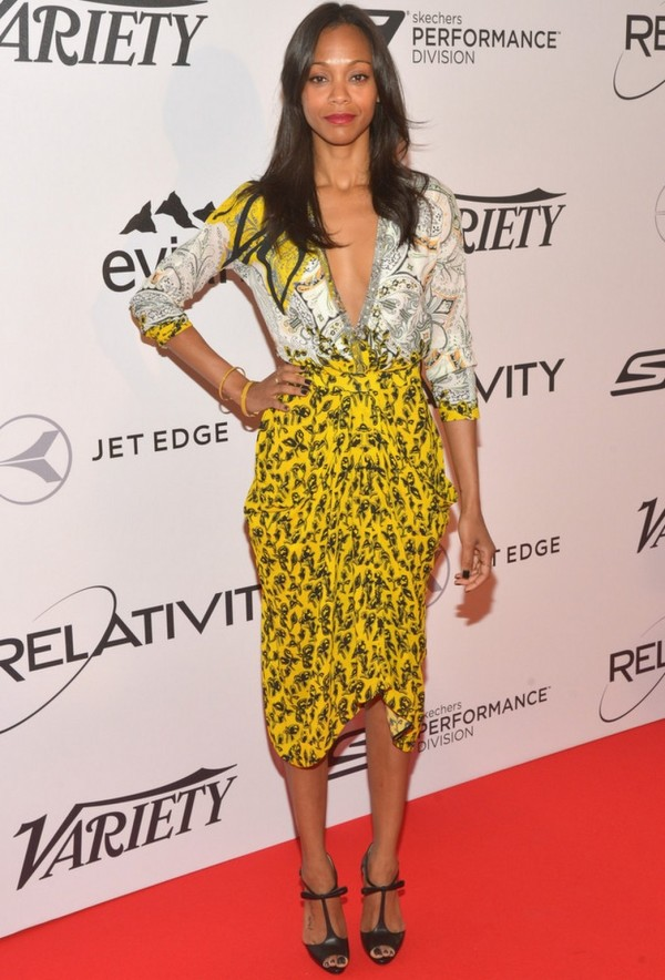 7 Best and worst dressed stars at Cannes Film Festival 2014 - Zoe-Saldana-Wearing-Etro-Cannes-Film-Festival-e1400433895240