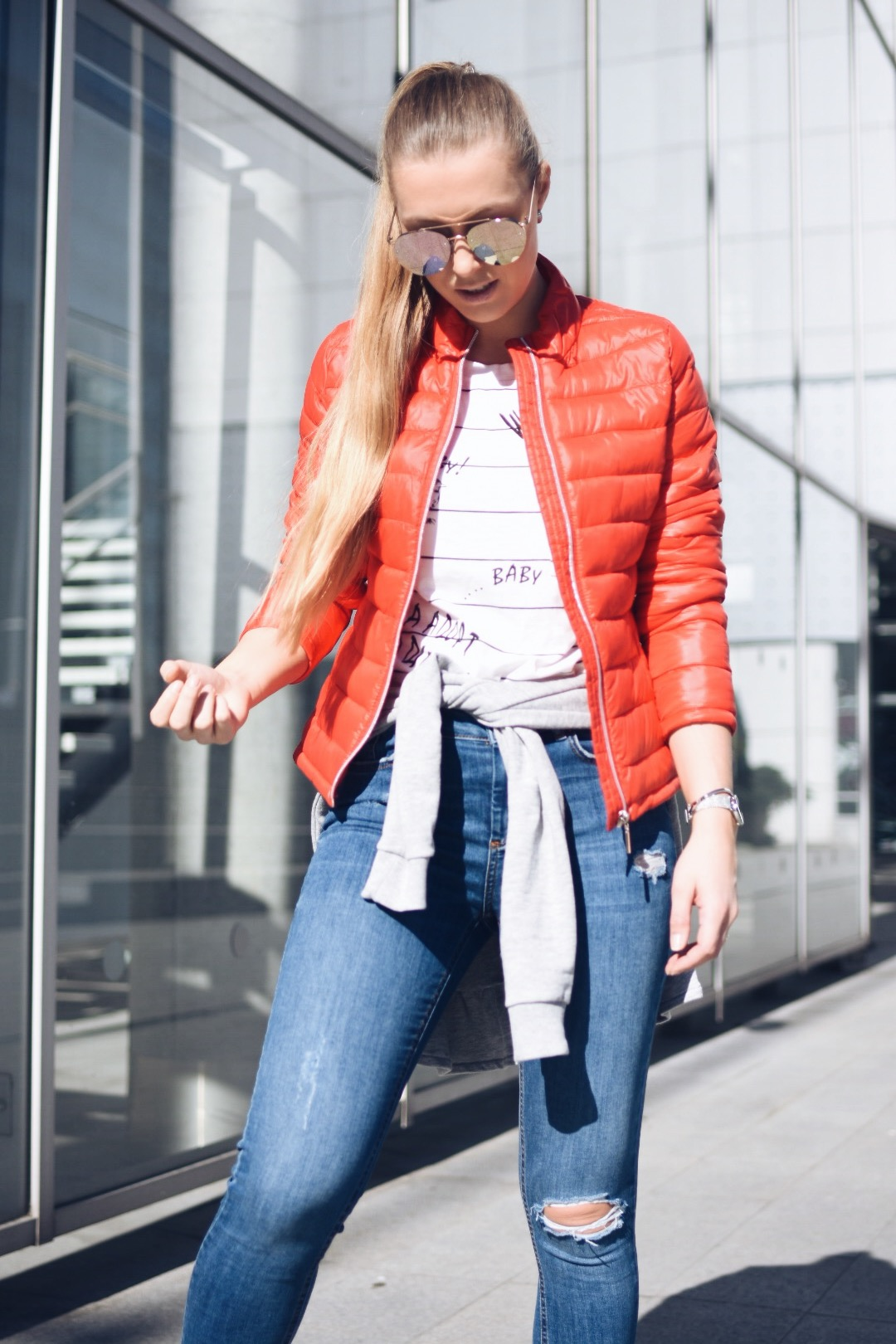 RED PADDED JACKET