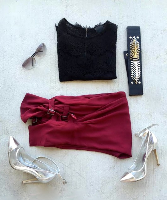 collage outfit of burgundy trousers spiked belt fend sunglasses silver heels