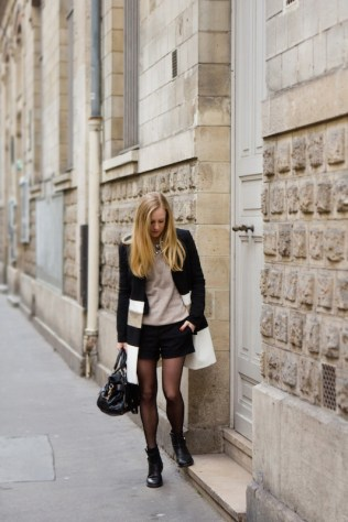 002_Black gold and white coat out in Le Marais