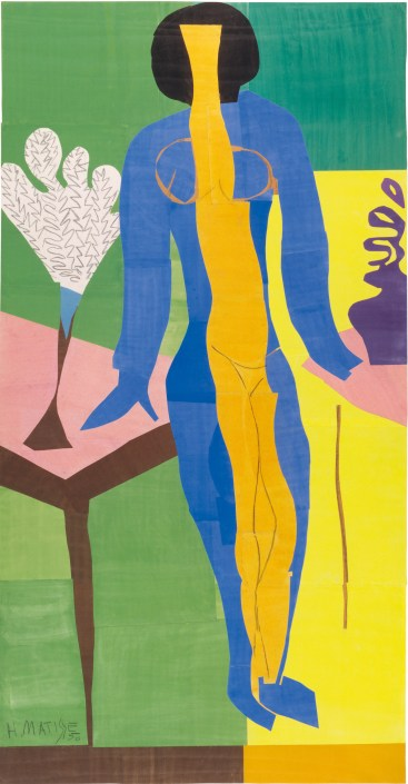 """Henri Matisse (French, 1869-1954). Zulma, early 1950. Gouache on paper, cut and pasted. 93 11/16 x 52 3/8"""" (238 x 133 cm). Statens Museum for Kunst, Copenhagen. © 2014 Succession H. Matisse, Paris / Artists Rights Society (ARS), New York"""