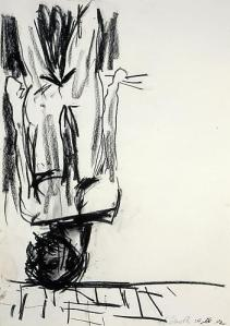 Georg Baselitz Untitled (The Last Self-Portrait I) , 1982 charcoal and pastel on paper 24 x 17 inches (61 x 43.2 cm.)