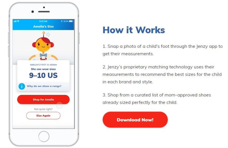 Jenzy app children fiting shoewear sizing