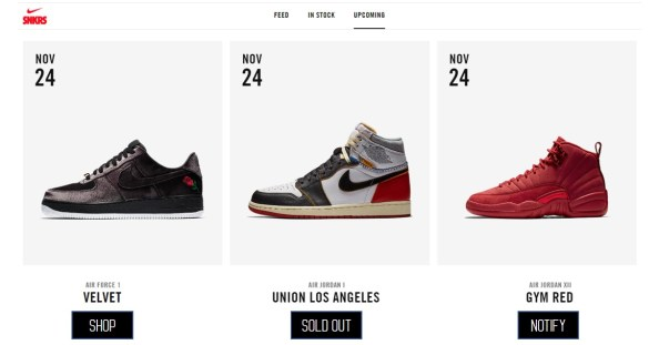 Nike list releases limited edition sneakers calendar