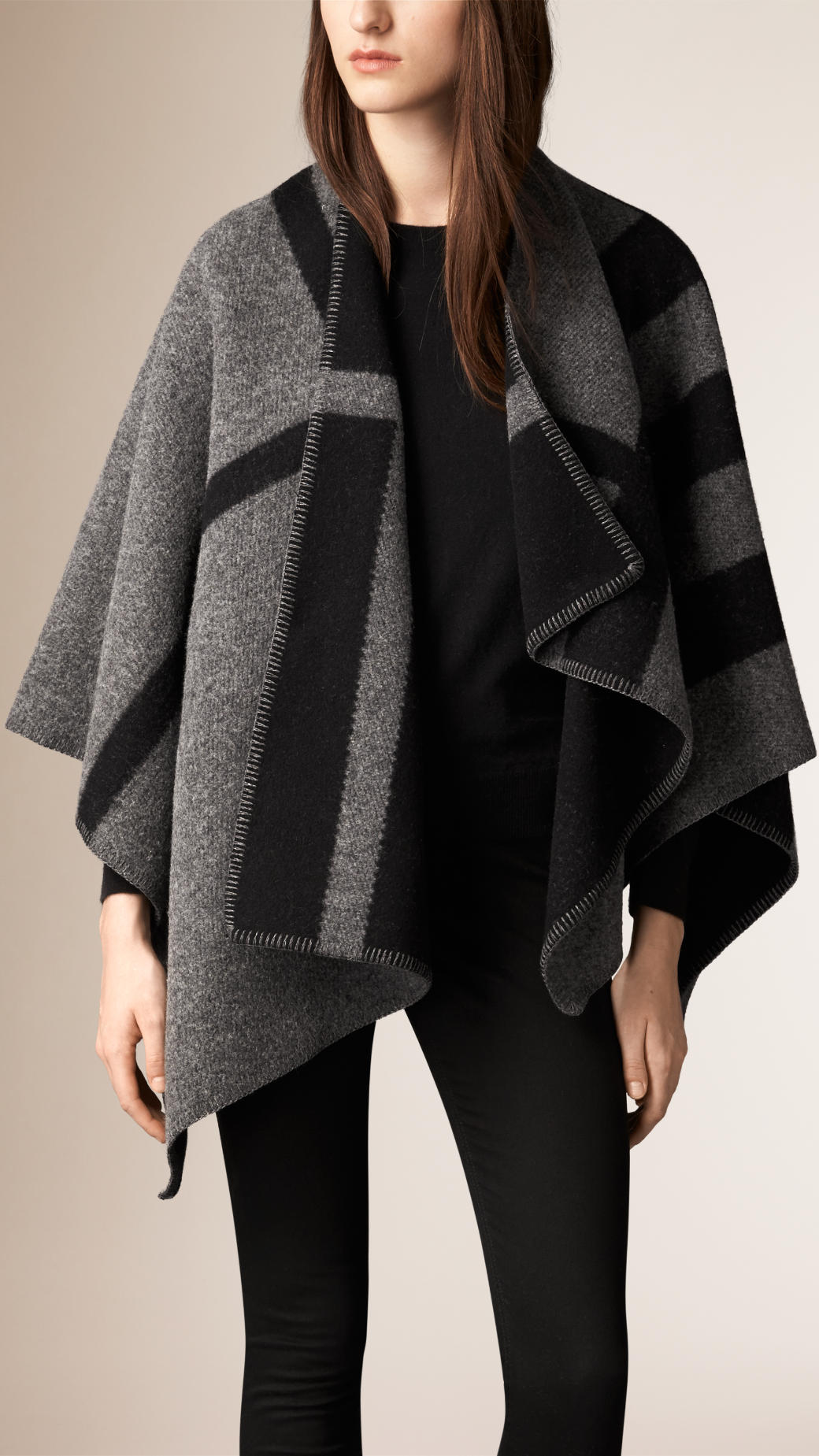 burberry-wool-cashmere-cape-dark-grey-check