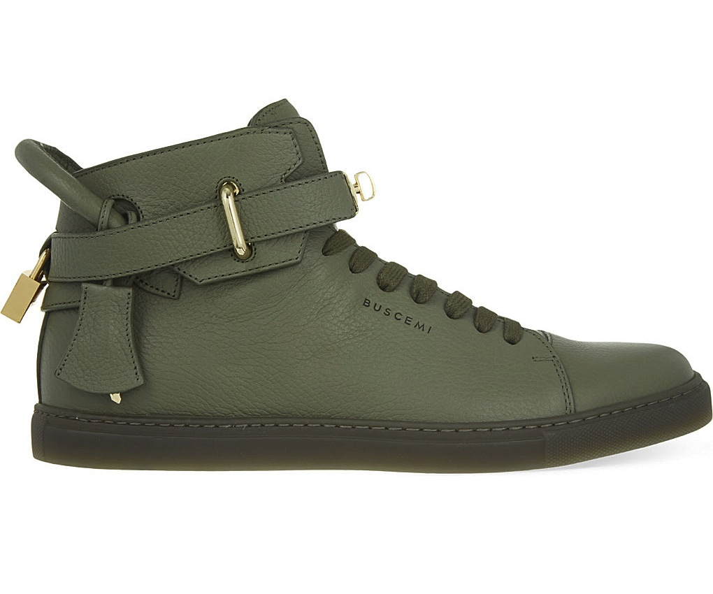 Buscemi 100mm Padlock Green High Top Sneakers