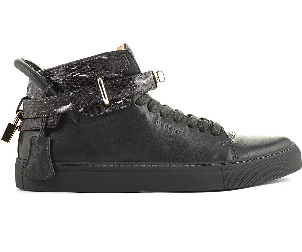 Buscemi 100mm Snakeskin Black High Top Sneakers