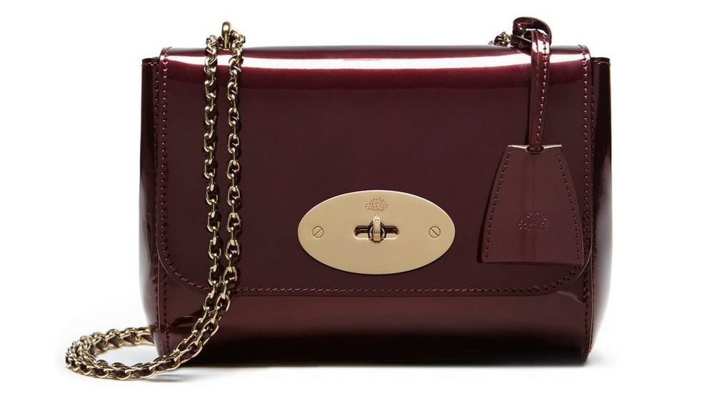 Mulberry Mirror Metallic Leather Lily in Oxblood