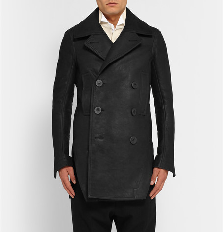 Rick Owens Leather Peacoat