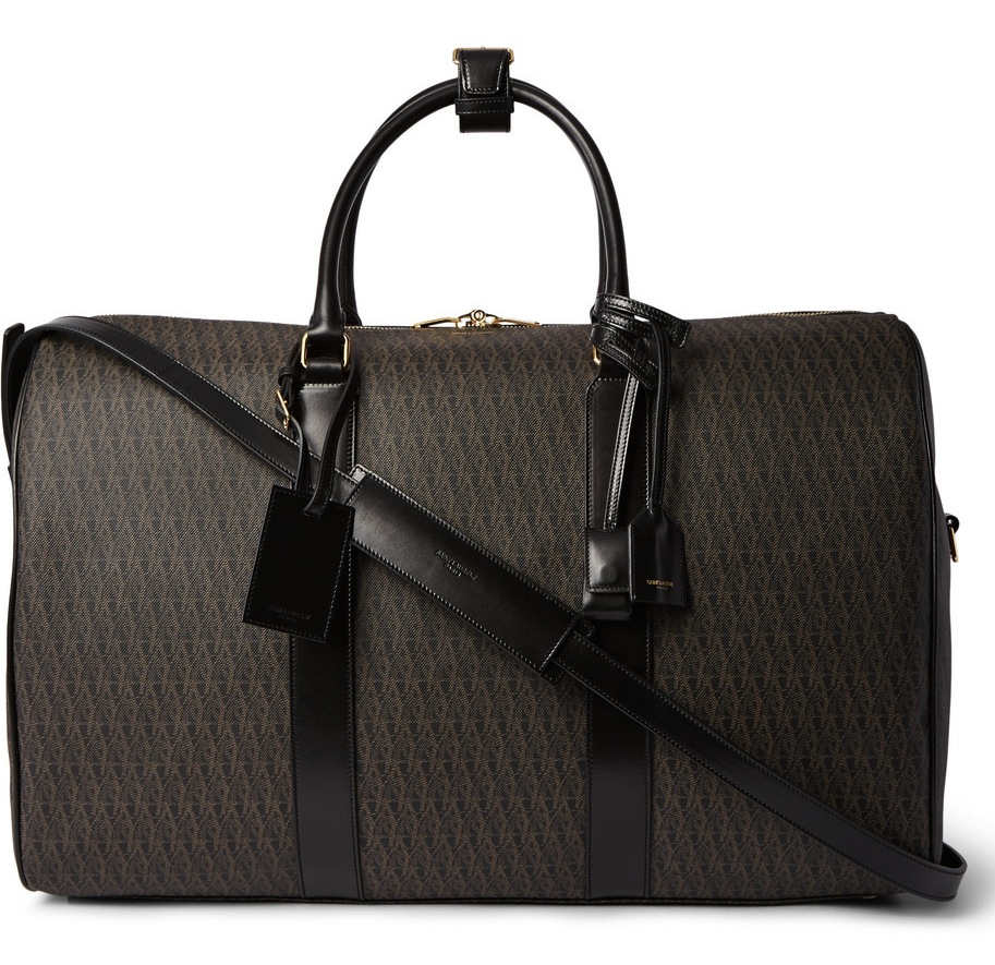 Saint Laurent Leather Trimmed Monogrammed Coated Canvas Holdall