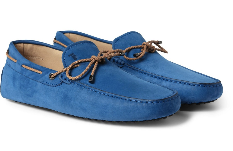 Tods Gommino Nubuck Leather Driving Shoes Blue