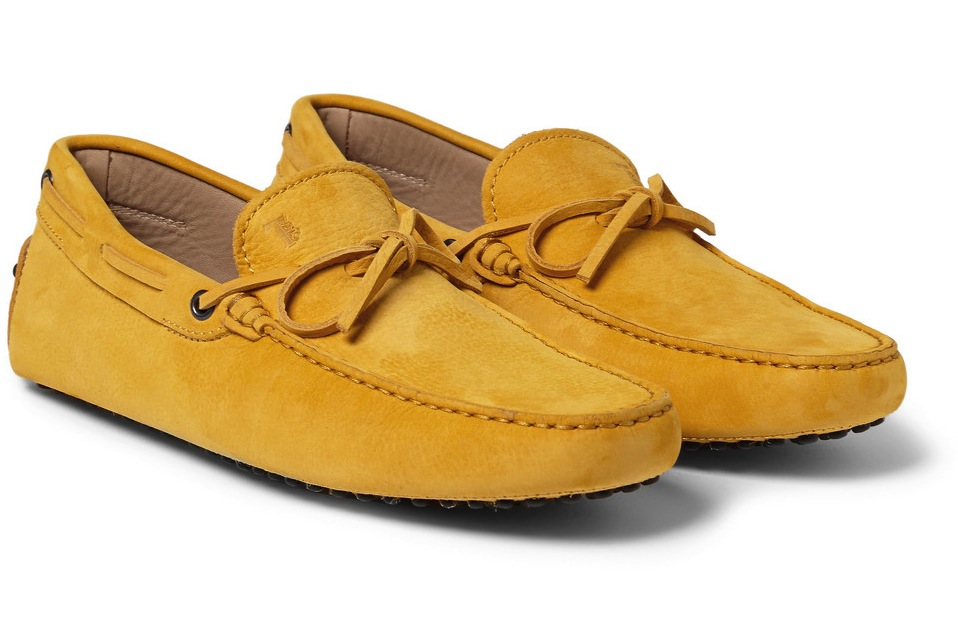 Tods Gommino Suede Driving Shoes Yellow