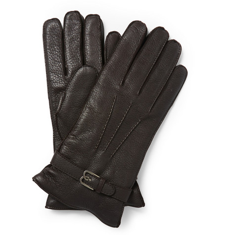 Berluti Cashmere Lined Grained Leather Gloves