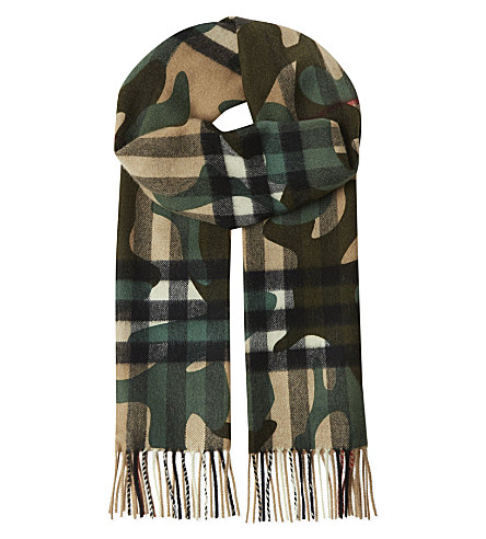 Burberry Camouflage Overprint Check Cashmere Scarf