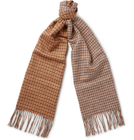 Valentino Checked Silk And Cashmere Blend Scarf