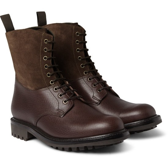 grenson samuel cross grain leather and suede boots