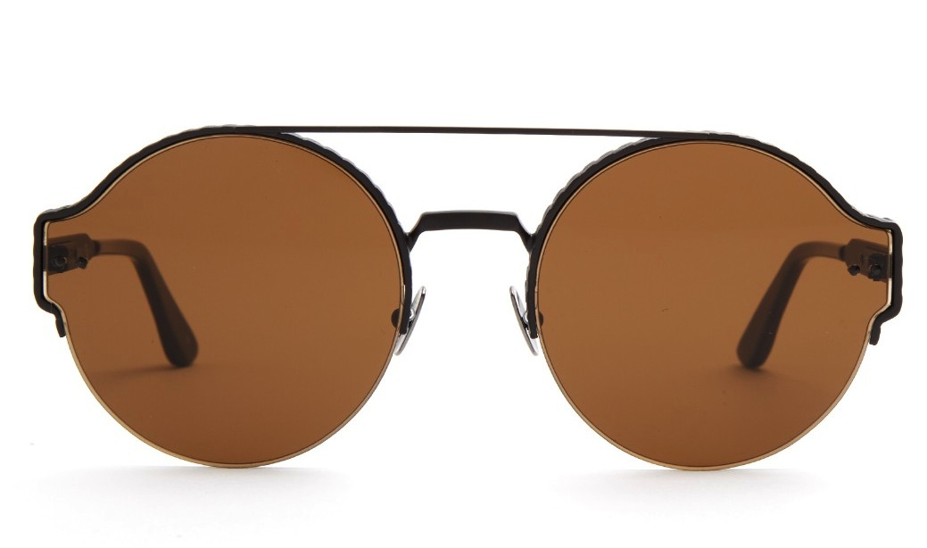 Bottega Veneta Intrecciato Engraved Round Frame Sunglasses