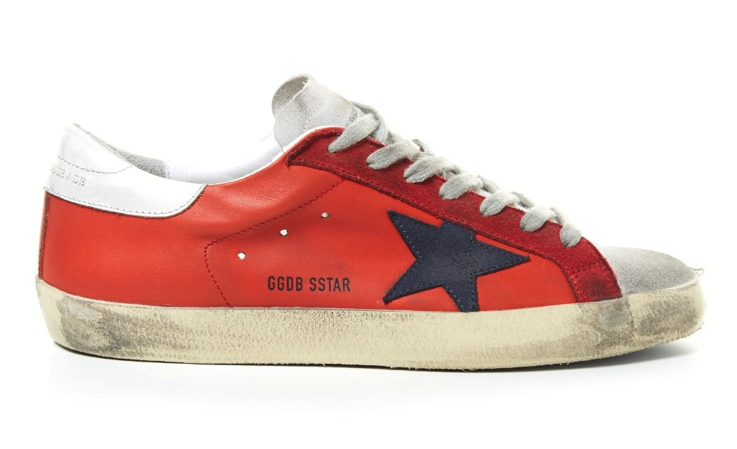 Golden Goose Deluxe Brand Red Super Star Low Top Leather Sneakers