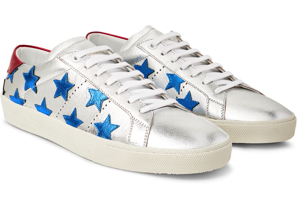 Saint Laurent Signature California Appliqued Metallic Leather Sneakers