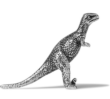 Saint Laurent Silver Tone Dinosaur Badge Velociraptor