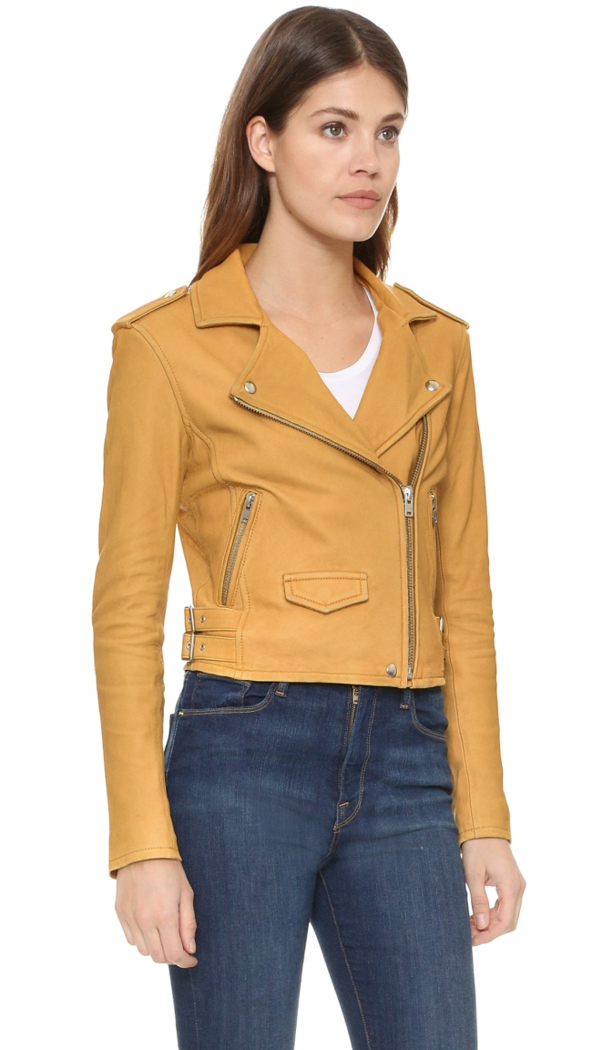 iro safran yellow leather jacket