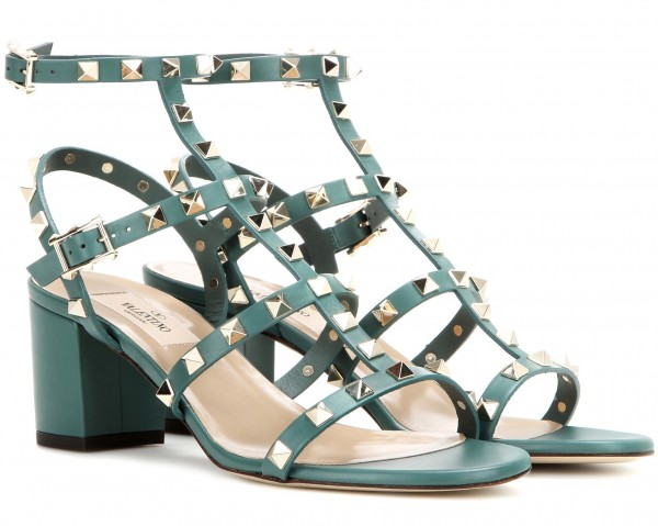 valentino rockstud sandals green