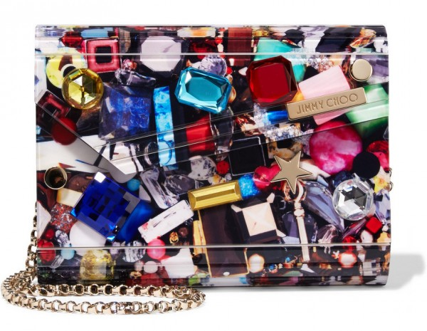jimmy choo candy embellished acyrlic clutch