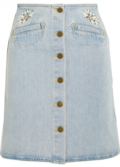 mih embroidered denim skirt