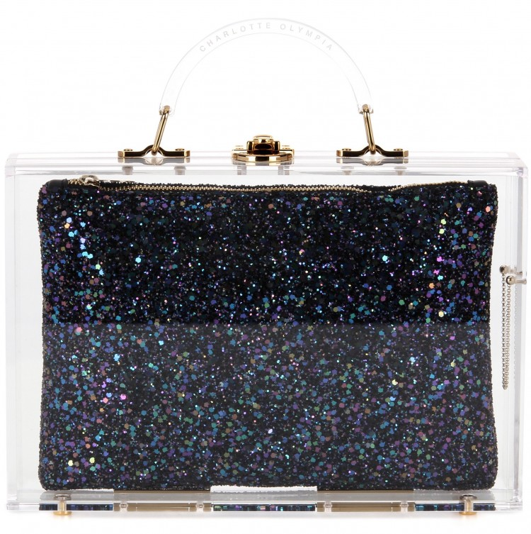 charlotte olympia constellation case clutch glitter