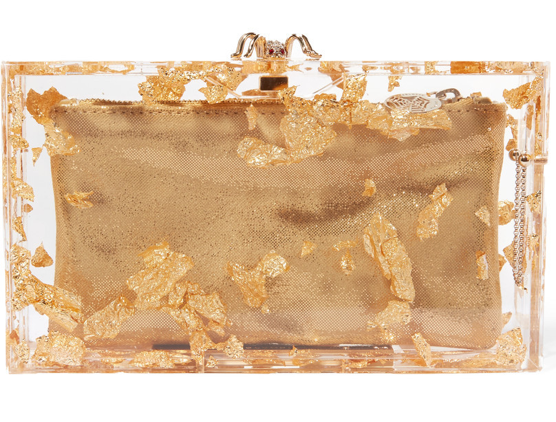 charlotte olympia lace foil gold clutch