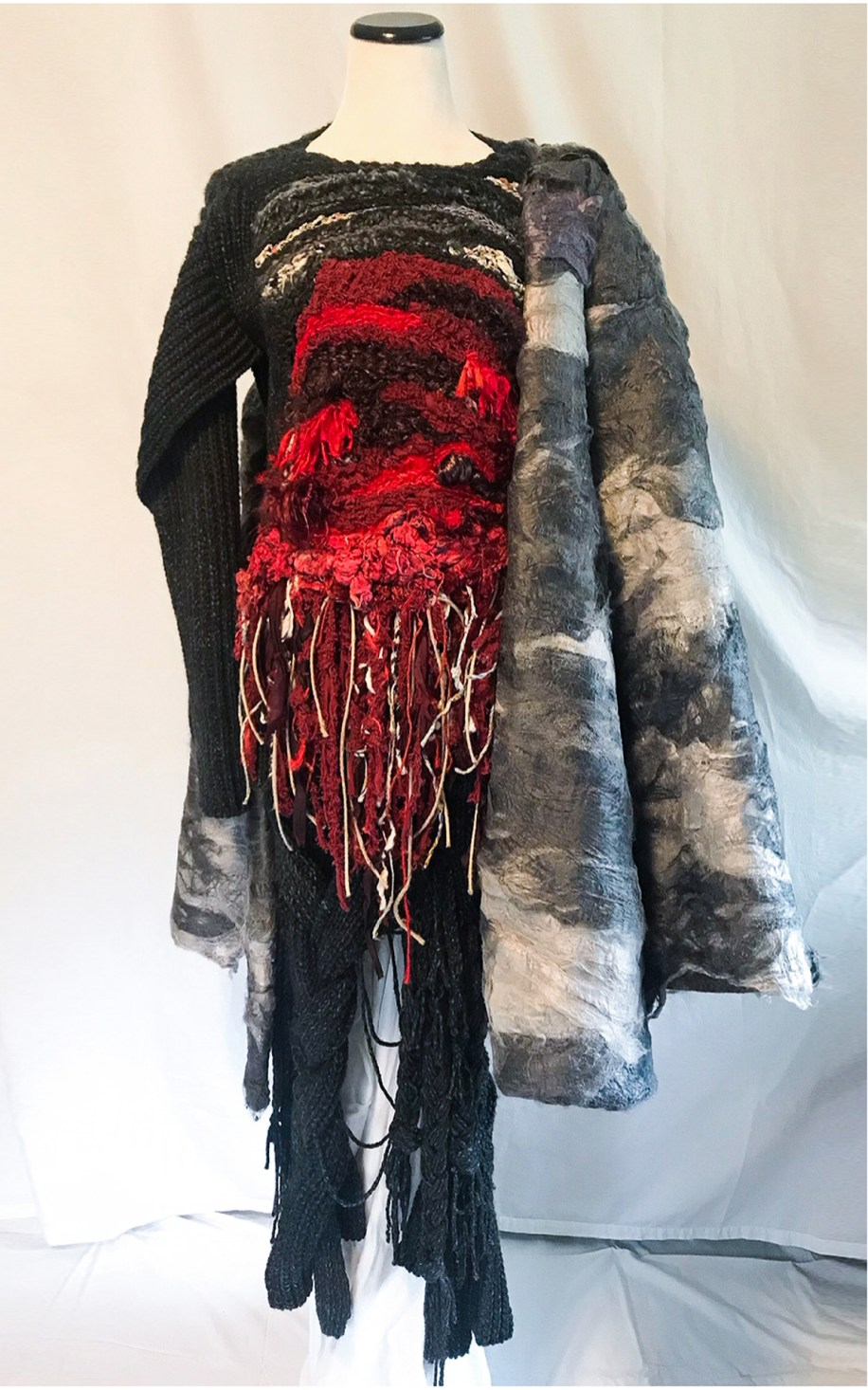 Sculpted Sweater w/ Front Hand Weave, Braided Skirt, and Hand Felted Coat (100% Vegan Knitwear)