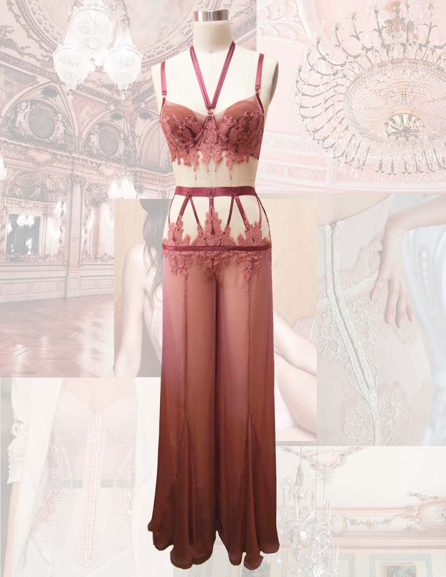 French mauve halter neck bra w/ hand appliqué lace & iridescent chiffon pant w/ elastic strapping.