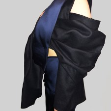 Black Wool/Cashmere and Navy and Black Fused Wool Blend Draped Crop Jacket and Cigarette Pant