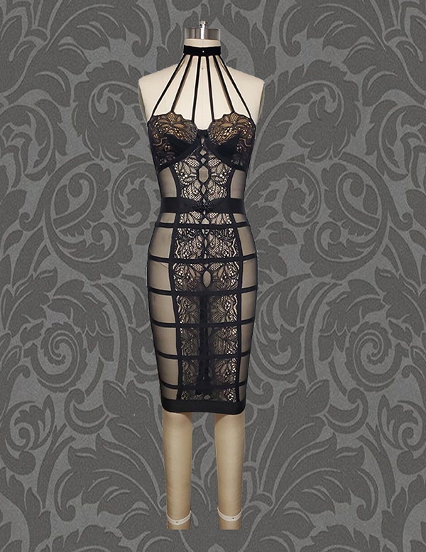 First Ensemble- Front View, Black sheer illusion control slip w/ French lace elastic strapping details and beaded belt