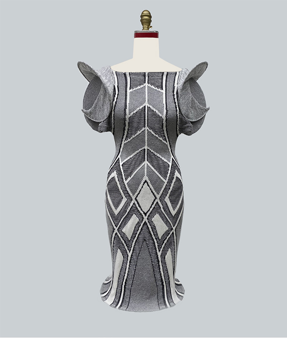Metallic silver and white Zaha Hadid inspired skyscraper evening dress